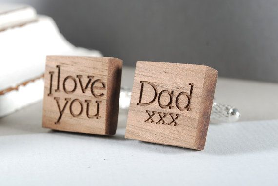 I LOVE YOU cuflinks ready to give gift box solid by MoodForWood