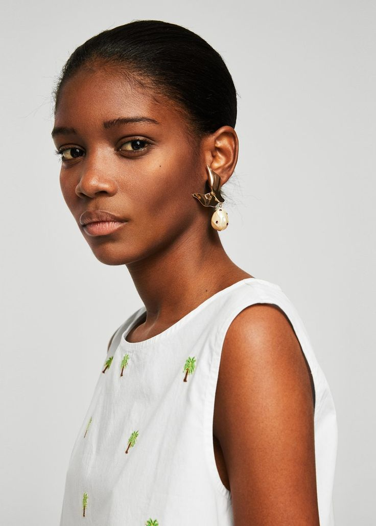 Vestido bordado algodón | MANGO