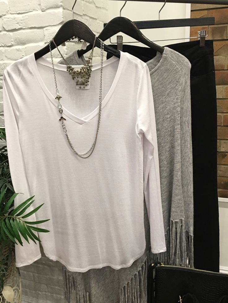 Layer it all! Layer your jewels. Layer your tops! $34 for each necklace and $24 for long sleeve shirt and $80 poncho. #ShopALB #ApricotLaneTS