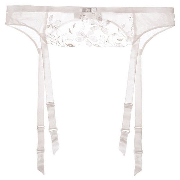 Triumph Sexy Angel Spotlight Suspender Belt ($16) ❤ liked on Polyvore featuring intimates, silk white, silk garter belt, sexy lingerie, sexy silk lingerie, garter belt and floral lingerie