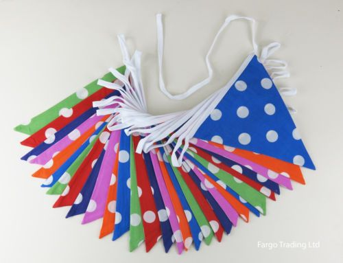 Double sided polka dot 10m bunting. £9.99