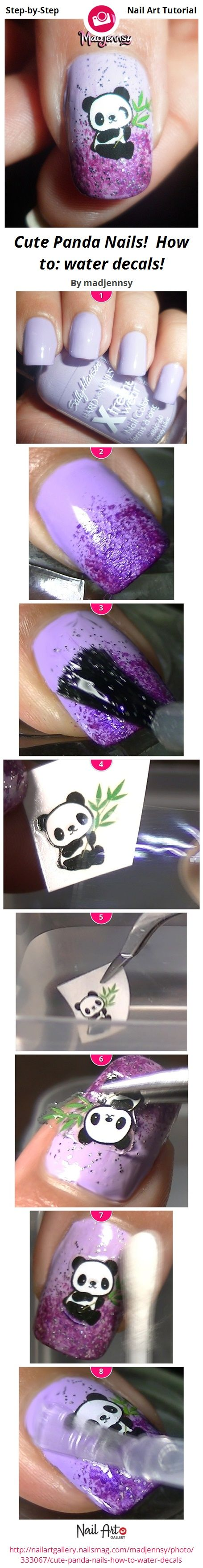 Cute Panda Nails!  How to: water decals! by madjennsy - Nail Art Gallery Step-by-Step Tutorials nailartgallery.nailsmag.com by Nails Magazine www.nailsmag.com #nailart