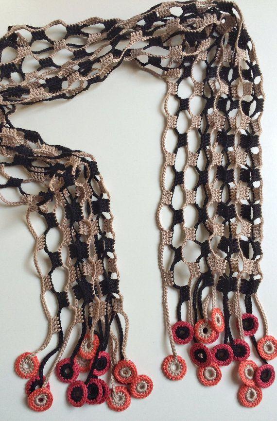 Earth night shades crochet summer scarf