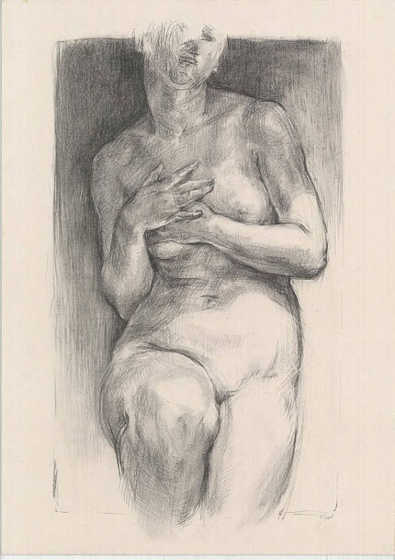 Female nude ORIGINAL DRAWING. Woman nude drawing. Charcoal and white chalk drawing.  Naked girl drawing. Size: 27.5 x 20 inches. Signed by Artist.