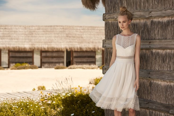 Rembo styling — 2018 Collection — White Stripe: Short loose dress with light pleats. Top nicely finished with fine lace.
