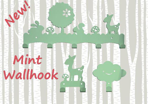 #mintgroen #woodland #mint #green #hooks #deer #cloud #metal #accessoires #kidsroom #nursery #baby