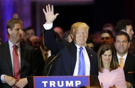 """PHILADELPHIA (AP) 4.27.16 — In a front-runner's rout, Republican Donald Trump roared to victory Tuesday in five contests across the Northeast and confidently declared himself the GOP's """"presumptive nominee.""""   AIN'T NO STOPPING US NOW!  #GetOnThatTrumpTrainPeople"""