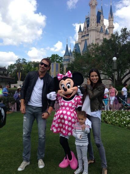 Adriana Lima with her ex-husband and her daughter Valentina at Disneyland Paris, April 2013.