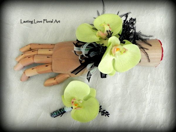 Prom Corsage and Boutonniere, Green Prom Corsage and Boutonniere, Orchid Corsage and Boutonniere, Flowers for Prom by LastingLoveFloralArt on Etsy