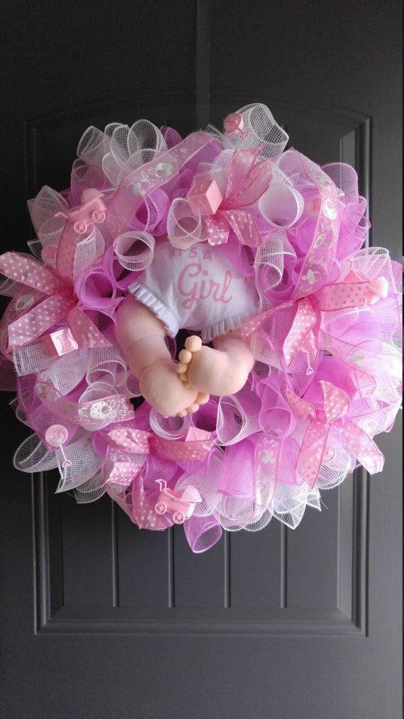 Its A Girl Wreath/ Baby Shower Wreath/ Door by WreathsofjoyByCruz