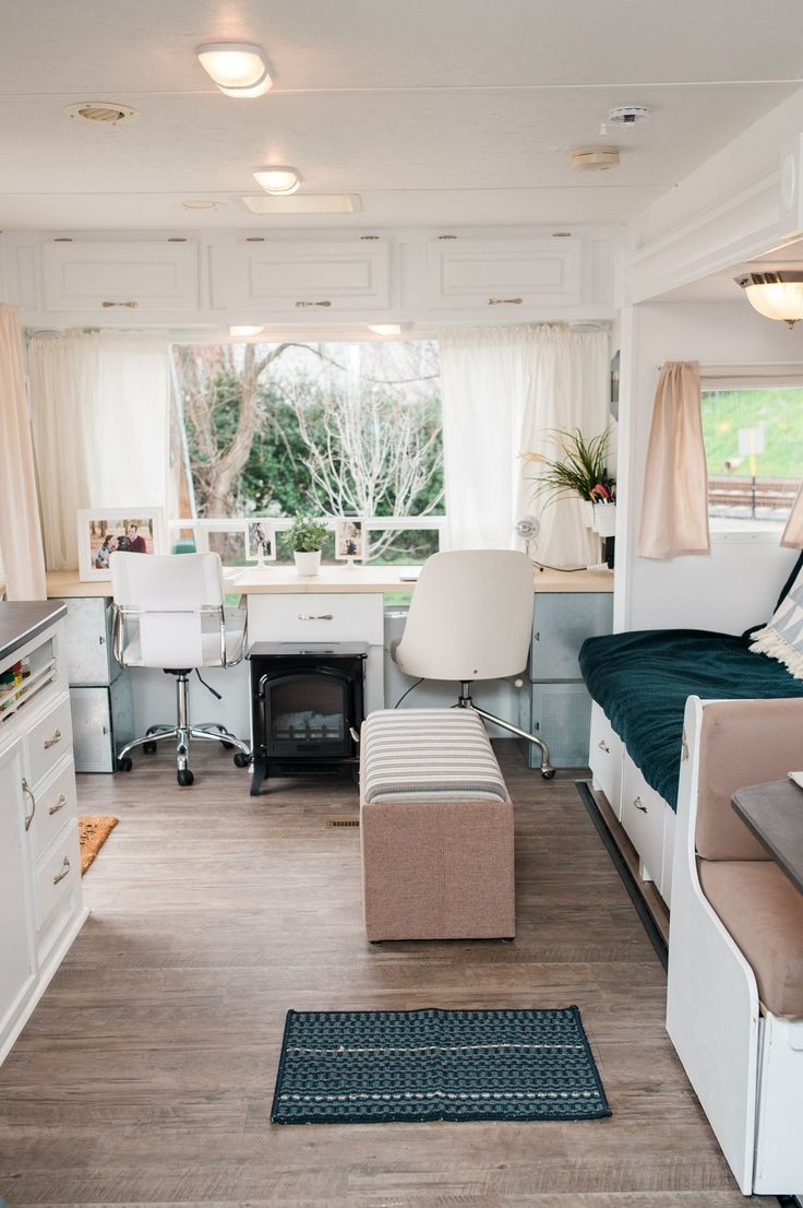 Great office space in Brittany & Jordan's Cozy, Modernized, DIY Cross-Country Camper
