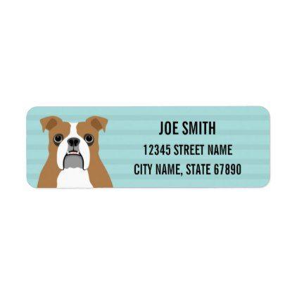English Bulldog Blue Return Address Label - labels customize diy cyo personalize