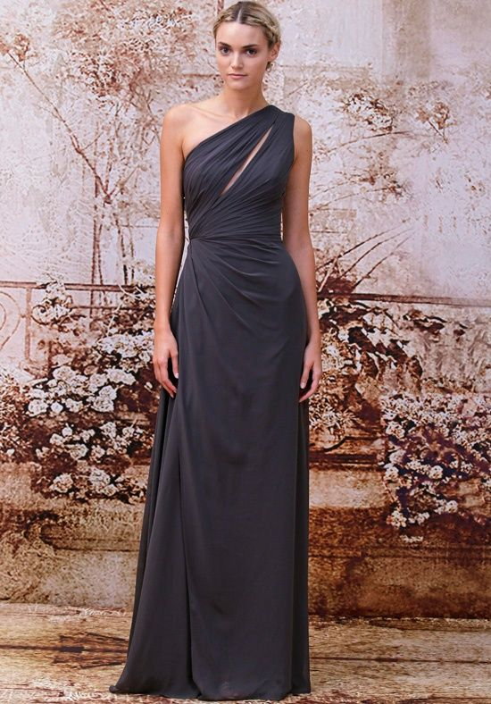 Monique Lhuillier Charcoal Dress. Love that slit, just a touch of sexy! Maybe for Sarah H's wedding?