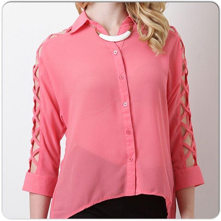 blusas de chifon con botones atras - Buscar con Google