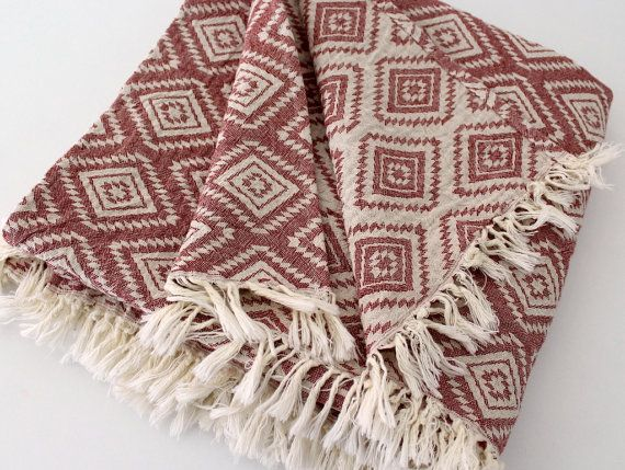 Aztec Throw Blanket | Navajo Picnic Blanket | Burgundy White Tribal Southwestern Sofa Couch Throw Wrap | College Student Gift / for Couple