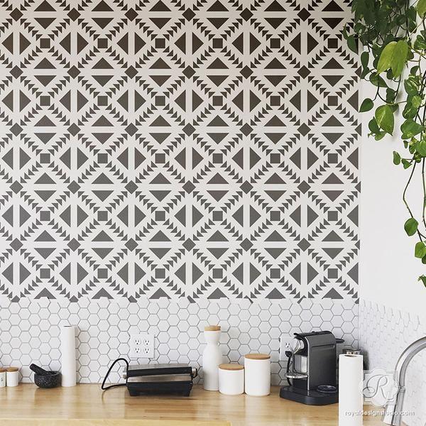 Black And White Kitchen Design DIY Backsplash With Concrete Quilt Tile Stencils