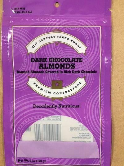 Voluntary recall issued for 21st Century Snack Foods dark chocolate almonds http://cstu.io/36793c