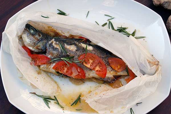 Sea bass in parchment paper with potatoes, fennel, colorful peppers and tomatoes flavored with rosemary. Paparouna Wine Restaurant & Cocktail Bar   Our dishes for today!!