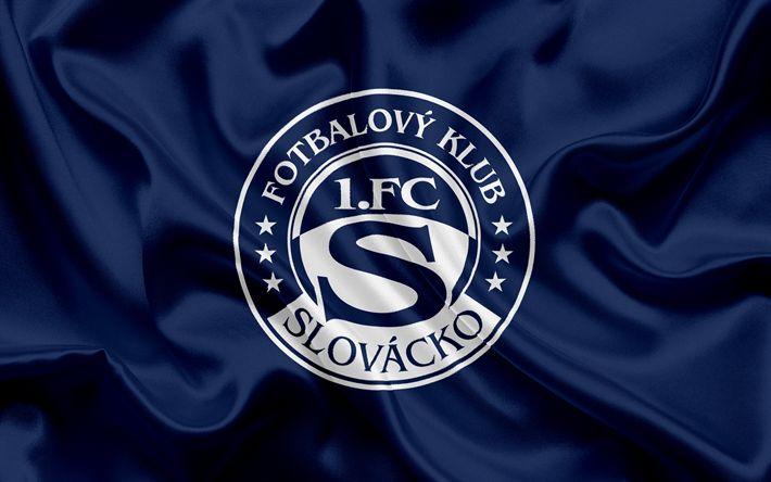 Descargar fondos de pantalla FC Slovacko, club de fútbol, Uherske Hradiste, República checa, emblema, logotipo de Slovacko, de seda azul de la bandera checa campeonato de fútbol