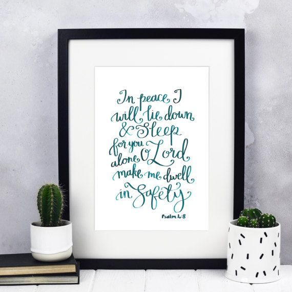 In Peace Print  Hand-lettered Prints  Christian Print