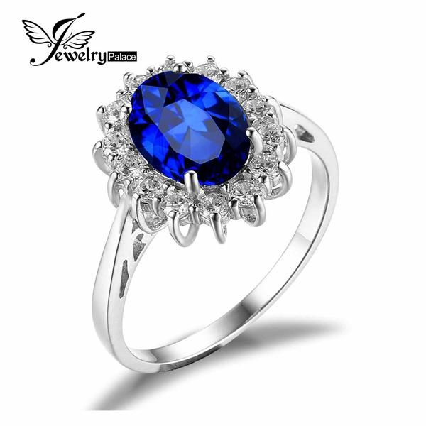 FuzWeb:JewelryPalace Princess Diana William Kate Middleton's 3.2ct Created Blue Sapphire Engagement 925 Sterling Silver Ring