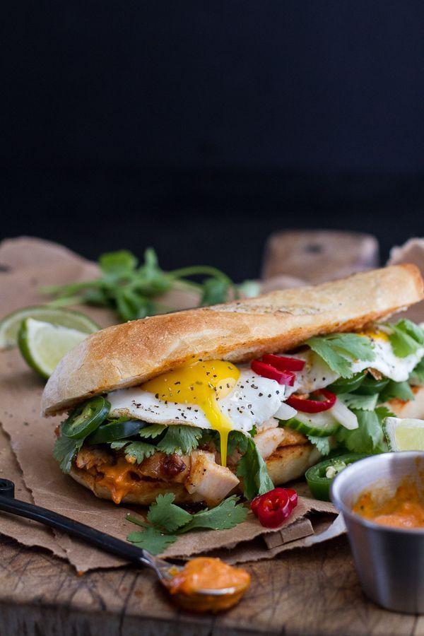 Mahi Mahi Banh Mi with Spicy Curried Mayo + Fried Eggs. #mahimahi #fishsandwich