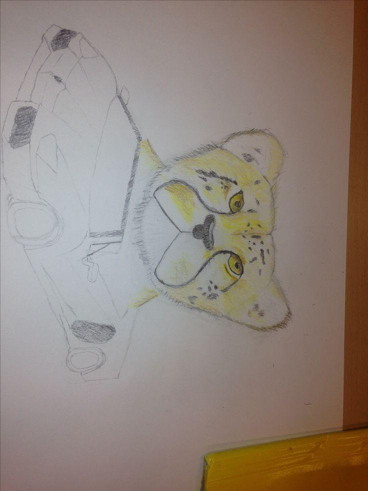 Dit is mijn tekening na 3 weken wat goed ging was de cheetah tekenen (het dier) en wat ik moeilijk vond ik sommige details bij de auto maar dat lukte wel.