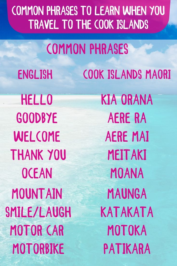 Learn A Few Cook Island Words And Phrases Cook Islands Common