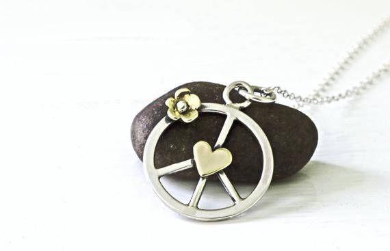 Boho Hippie Peace Symbol Pendant Handmade in Sterling Silver