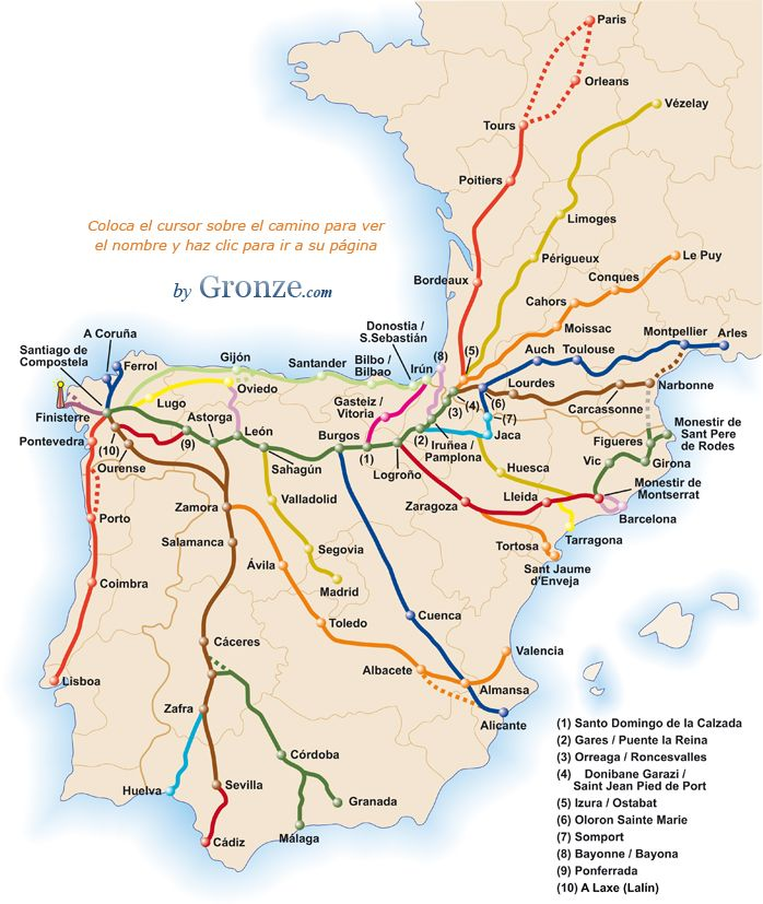 Map of the main roads to Santiago. Walking the pilgrimage to Santiago is on my bucket list.