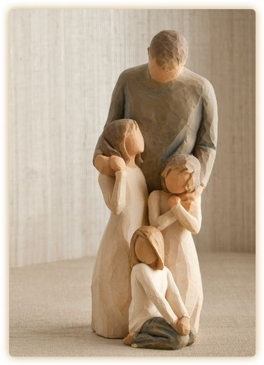 Willow Tree Mother Father with Baby /& Daughter Figurine Gift Set  Family Group