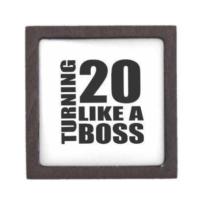 #Turning 20 Like A Boss Birthday Designs Jewelry Box - #giftidea #gift #present #idea #number #twenty #twentieth #bday #birthday #20thbirthday #party #anniversary #20th