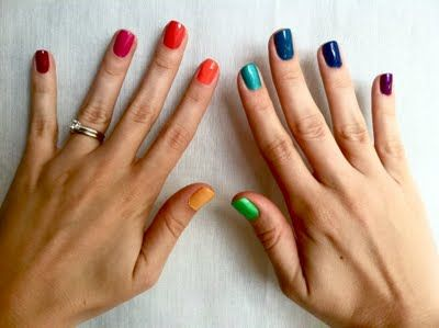 Good idea for the first week of school :)  This art teacher seems amazing! Cool idea to use your nails to teach color hues, or the rainbow with 7 nails, each the colors in a rainbow then rain and sunshine or something on the other 3 nails!