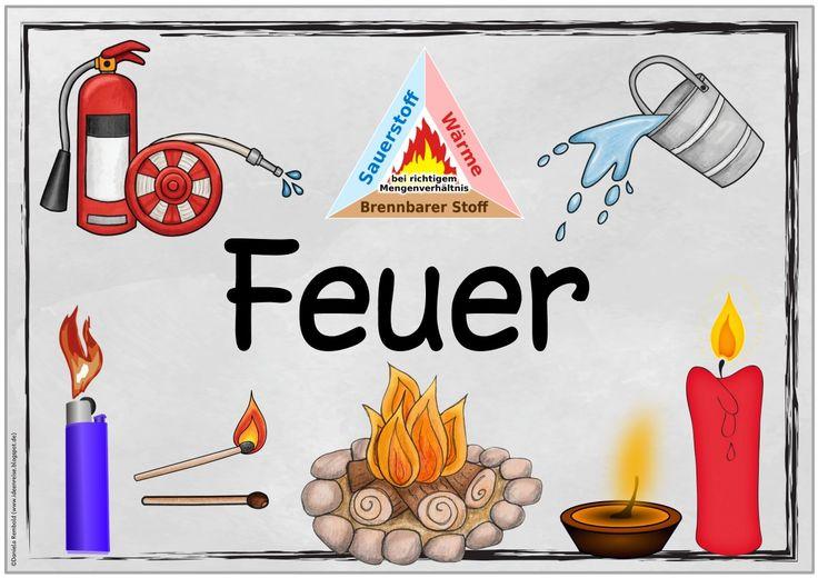 """Themenplakat """"Feuer""""   Wie versprochen kommt heute das Plakat  zum Thema """"Feuer"""". Die Datei enthält zwei Varianten, nämlich einmal mit Verb..."""
