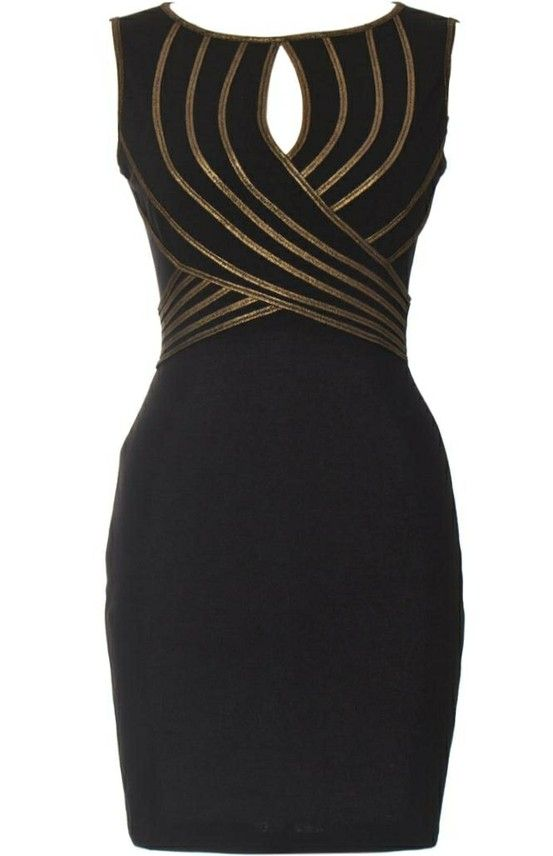black and gold dress - very flattering to the waistline