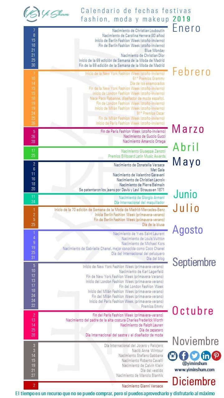 Calendario Panama 2019 Con Festivos.Calendario De Efemerides Fashion Moda Y Makeup 2019