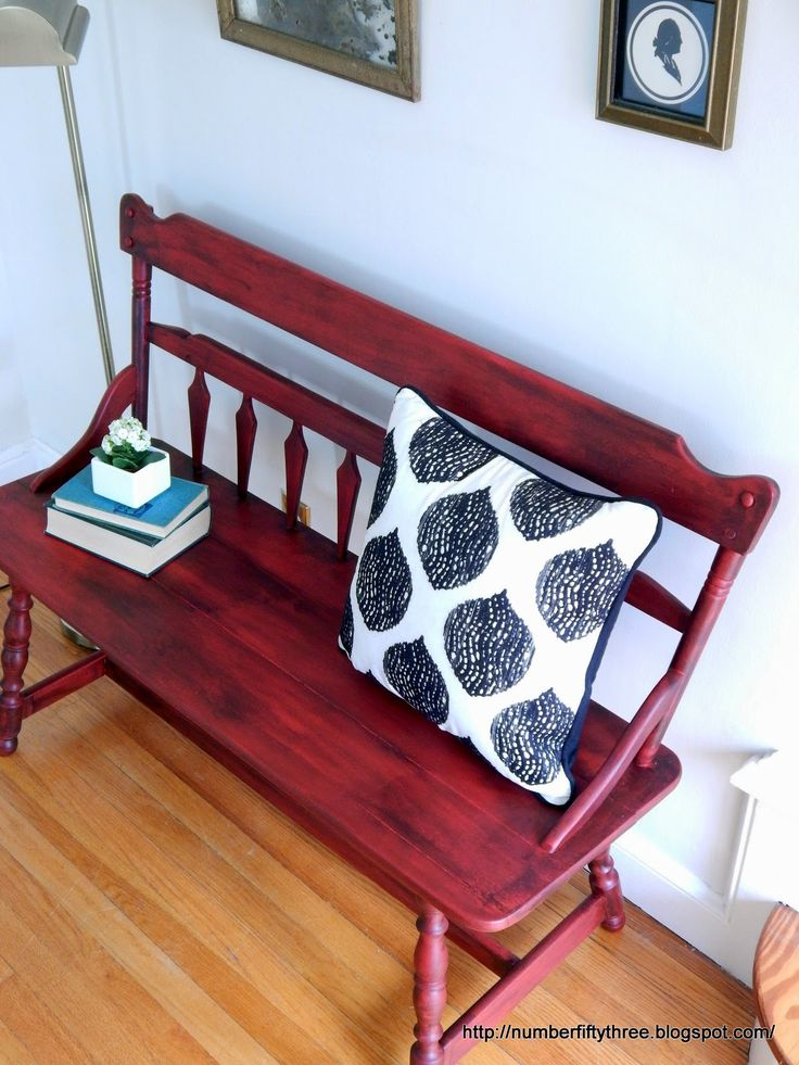 Number Fifty-Three: Red Glazed Painted Vintage Bench