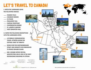 Canadian Landmarks Worksheet