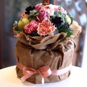 ミニおむつケーキ・アンティークピンクのページです。出産祝いにおむつケーキを。フラワーギフト通販のSpice