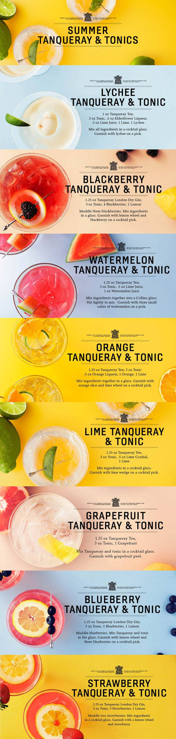 Gin and Tonics // tanqueray gin, tonic water, elderflower liqueur, lime, lychee, blackberries, lemon, lime juice, watermelon juice, cointreau, orange, lime cordial, grapefruit, blueberries, strawberries