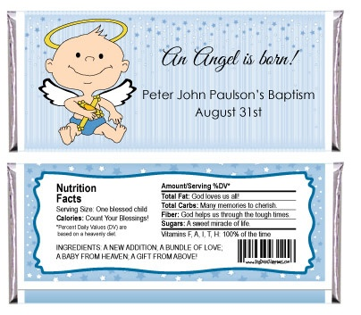 Angel Baby Boy - Personalized Candy Bar Wrapper Baptism Favors $0.99