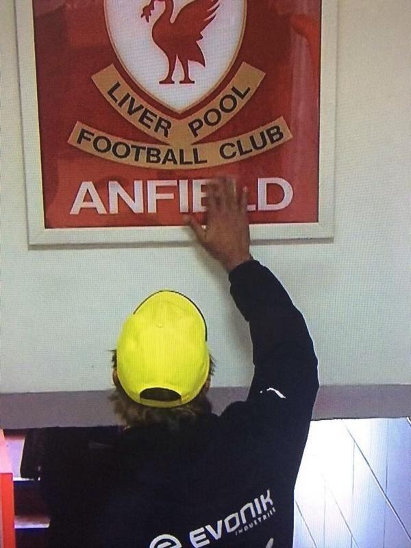 Jürgen Klopp before the game between Liverpool and Borussia Dortmund at Anfield. #LFC #BVB #respect