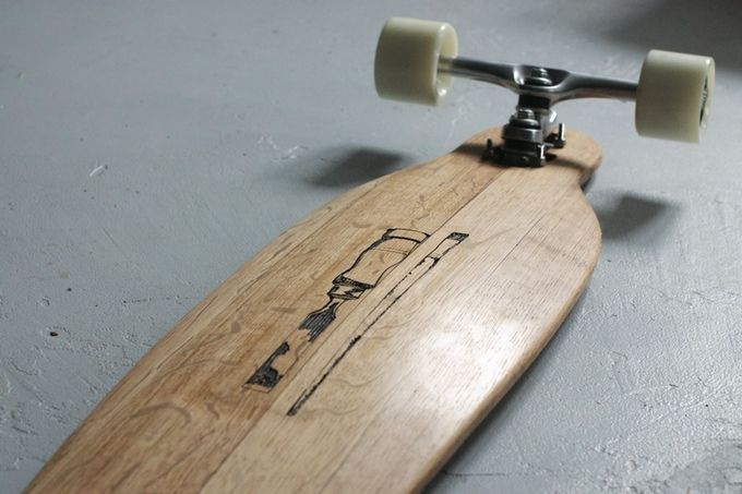 Recycled wine-barrel longboard by The Paper Rain Project