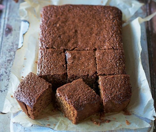 Parkin (a traditional Yorkshire cake made with ginger, treacle and oats) baked on a barbecue.