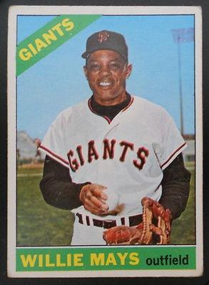1966 WILLIE MAYS Topps #1 Centered New York Giants Vintage Baseball Card