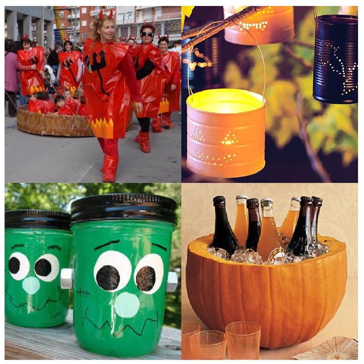 Haloween party fun. I love the pumpkin drink holder idea!