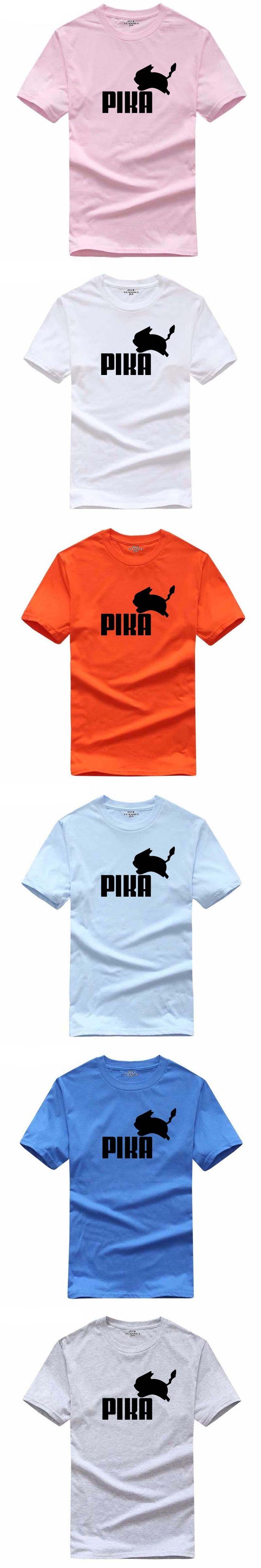 YUANHUIJIA men funny t-shirt Pokemon/Dragon ball print t shirt men casual short sleeves cartoon PIKA women t shirt plus size top