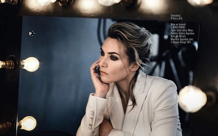 Lighting up the page, Kate Winslet wears Pallas jacket