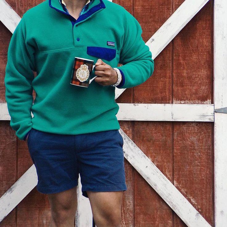 Sudden drop in temps and I don't mind a bit // Fleece: Patagonia + Shirt: Gant Rugger Bracelet: Kiel James Patrick + Shorts: J.Crew + Mug: Ralph Lauren // IG: @jeffdepano