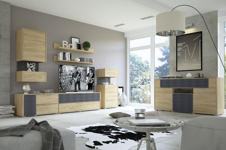 Przełomowe rozwiązanie w postaci dwóch frontów pokrytych specjalną akustyczną tkaniną w kolorze antracytowym pozwoli w wygodny sposób ukryć głośniki i w dalszym ciągu cieszyć się wysokiej jakości dźwiękiem podczas filmowego seansu.  #meble #furniture #rtv #deaisng #modern #livingroom #salon